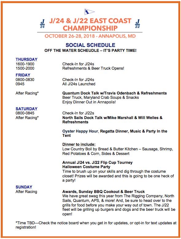 2018 Social Schedule